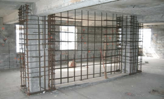 Fig  5 16 Concrete Jacketing and Arrangement of Shear Wall