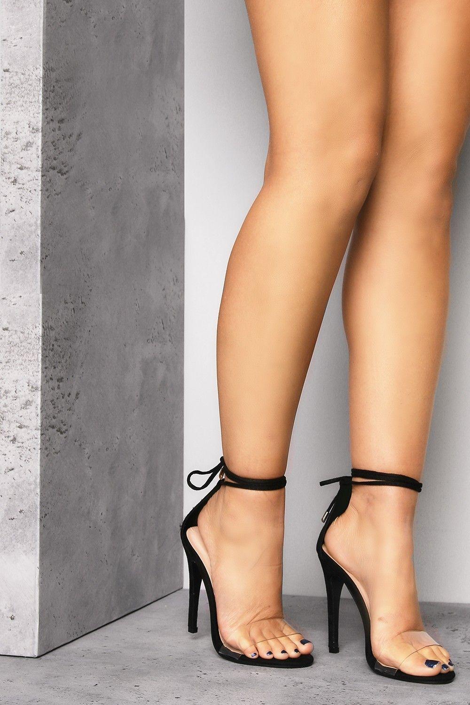 782d49de7b5 Black Clear Strap Wrap Around Heels - Shoes