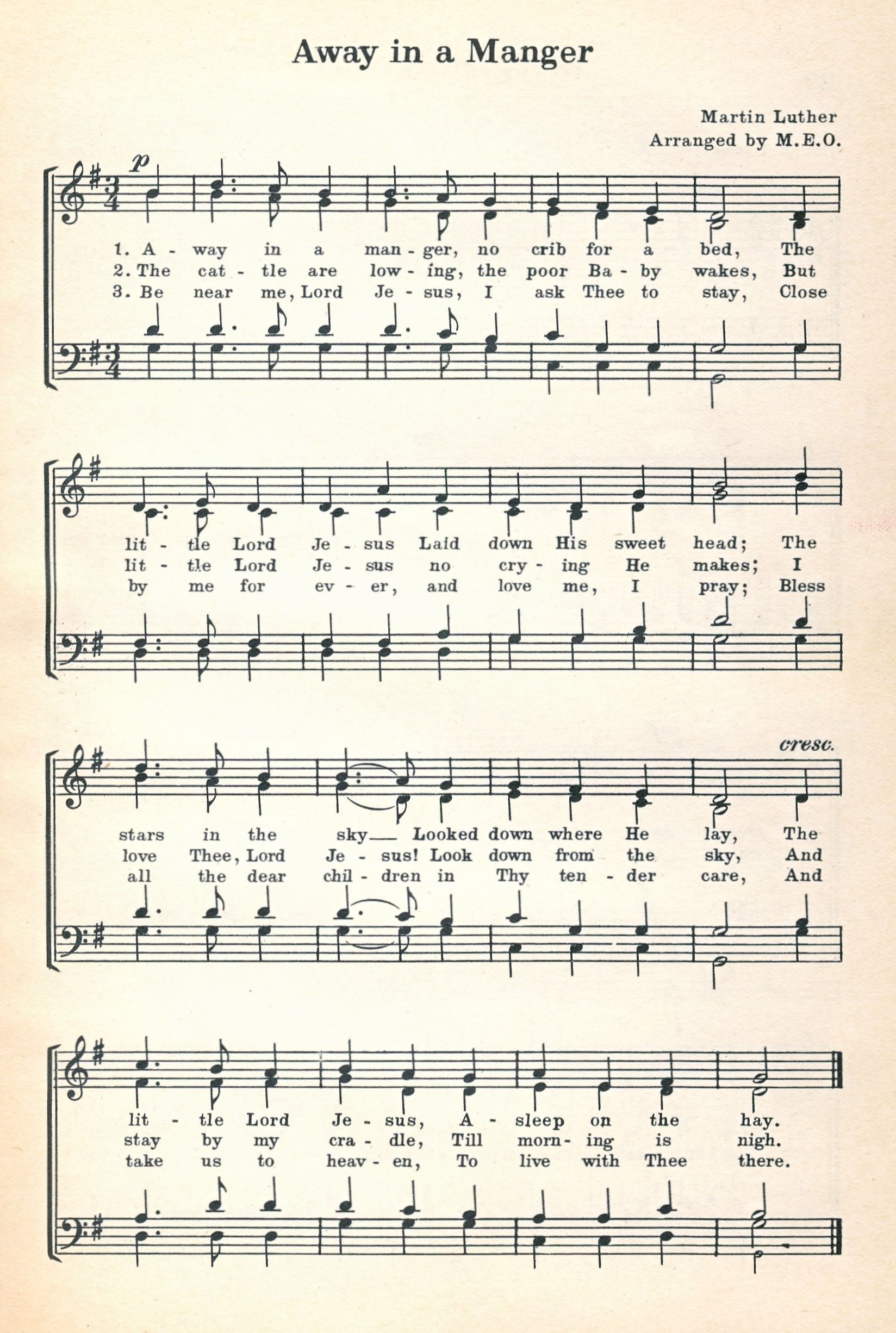 Public domain music sheet for Away in a Manger. For more Christmas ...
