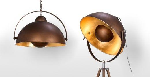 Chicago staande lamp in antieke koper en goudkleur antique