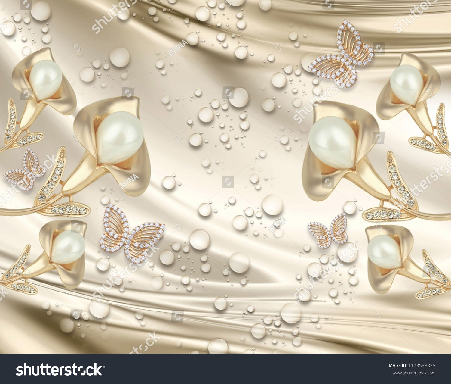 3d Background Calla Lily And Butterfly Water Drop Silk Gold And Pearls Gold Jewelry Wallpap Gold Jewellery Wallpaper White Gold Jewelry Modern Gold Jewelry