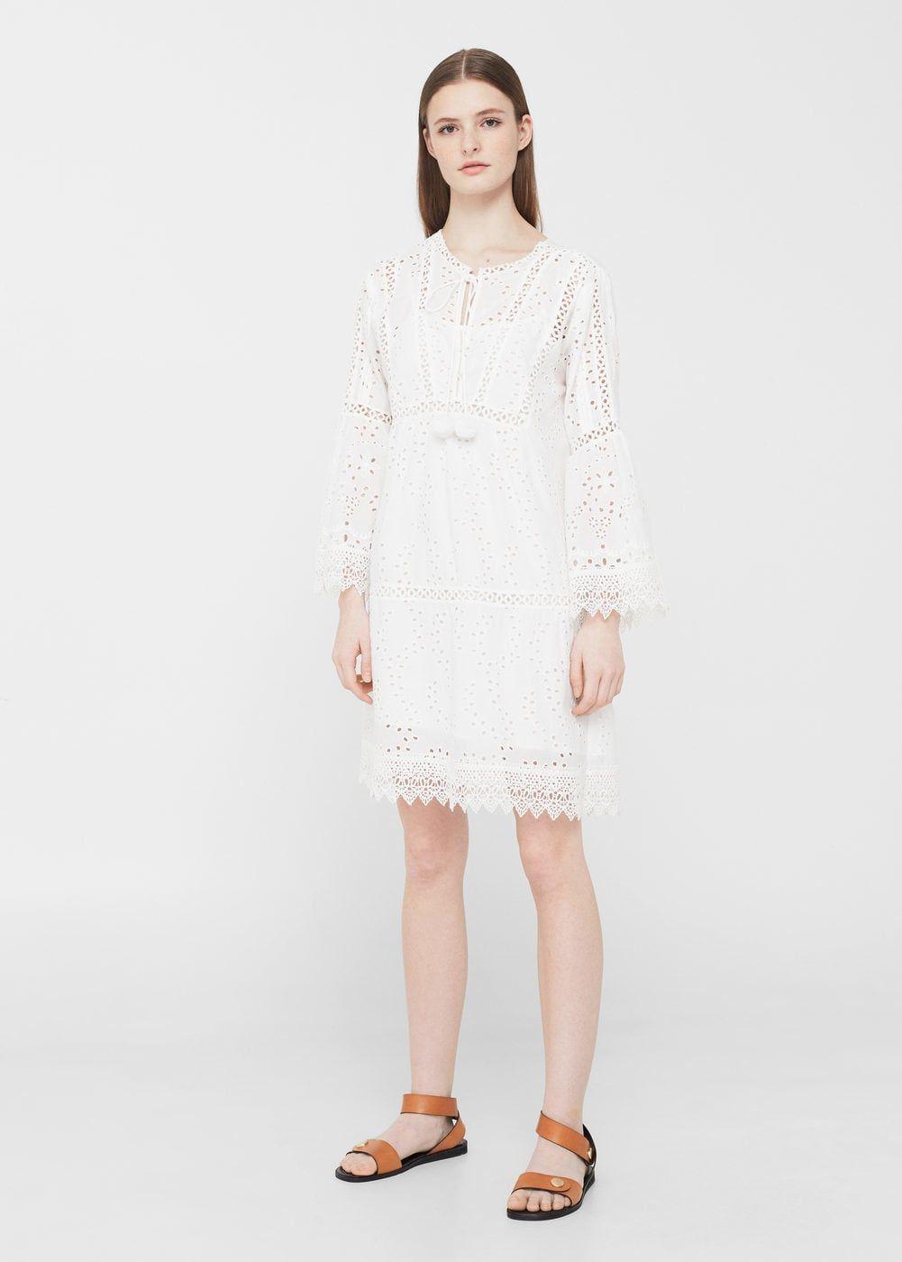 246d5016b88a6d Opengewerkte katoenen jurk - Dames