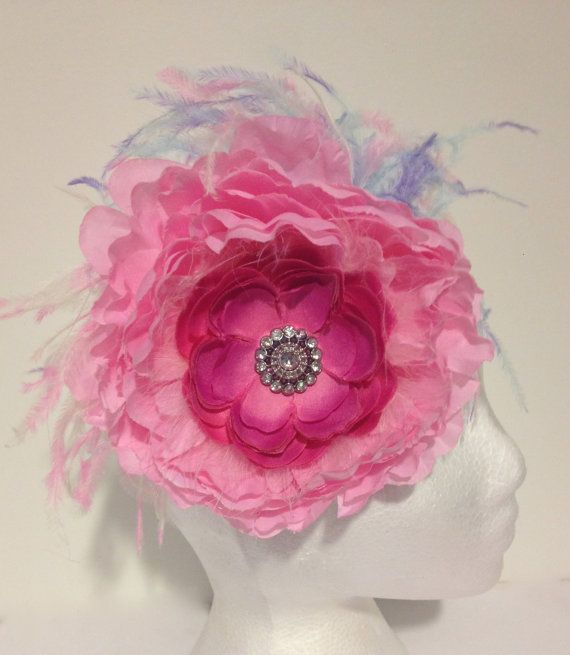 Big Jumbo Pink Flower Hot Pink Rhinestone Peony, Rainbow Ostrich Couture Headband. Handmade in Brooklyn by FancyGirlBoutiqueNYC, $24.99 Buy it on Etsy.