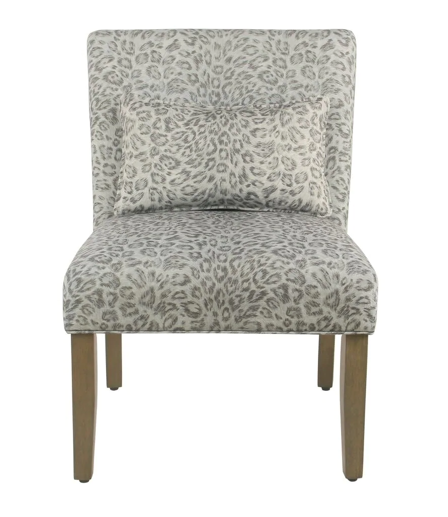 Homepop parker accent chair with pillow gray cheetah homepop