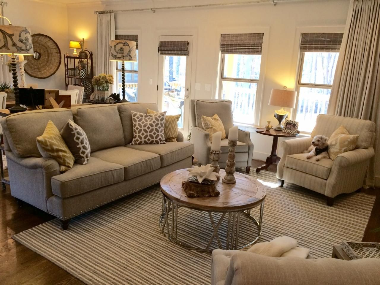 Barnett Furniture   2015 Customer Orders  King Hickory Chatham Sofa,  Comfort Design Frost Recliner