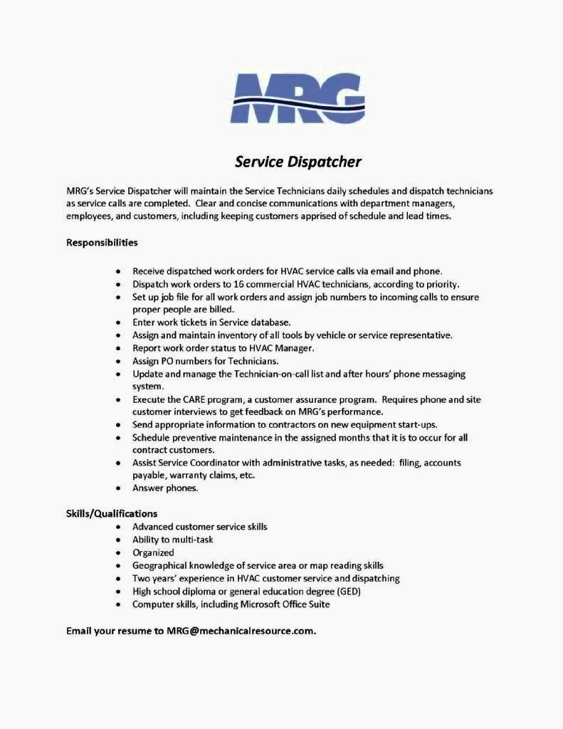 Truck Dispatcher Job Description Resume Unique 12 13