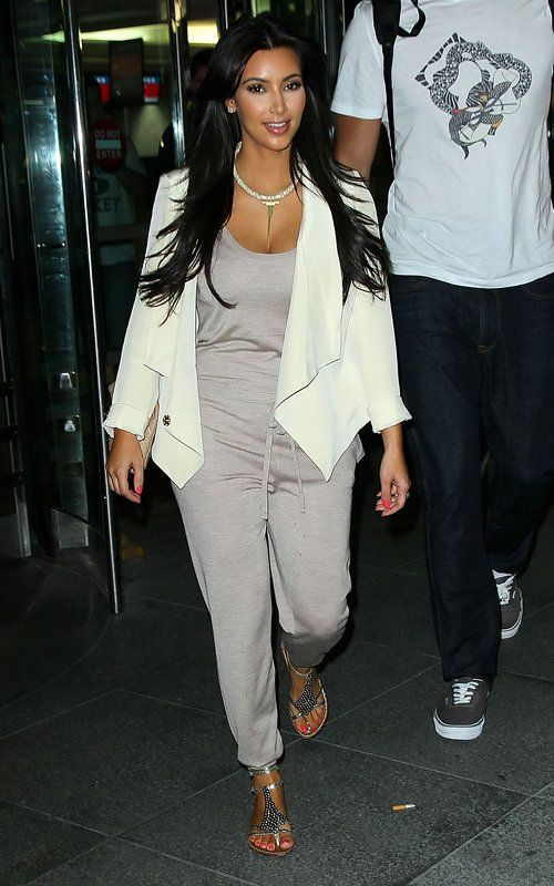 802132b463d Kim Kardashian wearing Sam Edelman Ginger Three Strap Gladiator Sandals In  Pewter Pencey V Blazer in Cream Stella McCartney Cashmere Silk and  Wool-blend ...