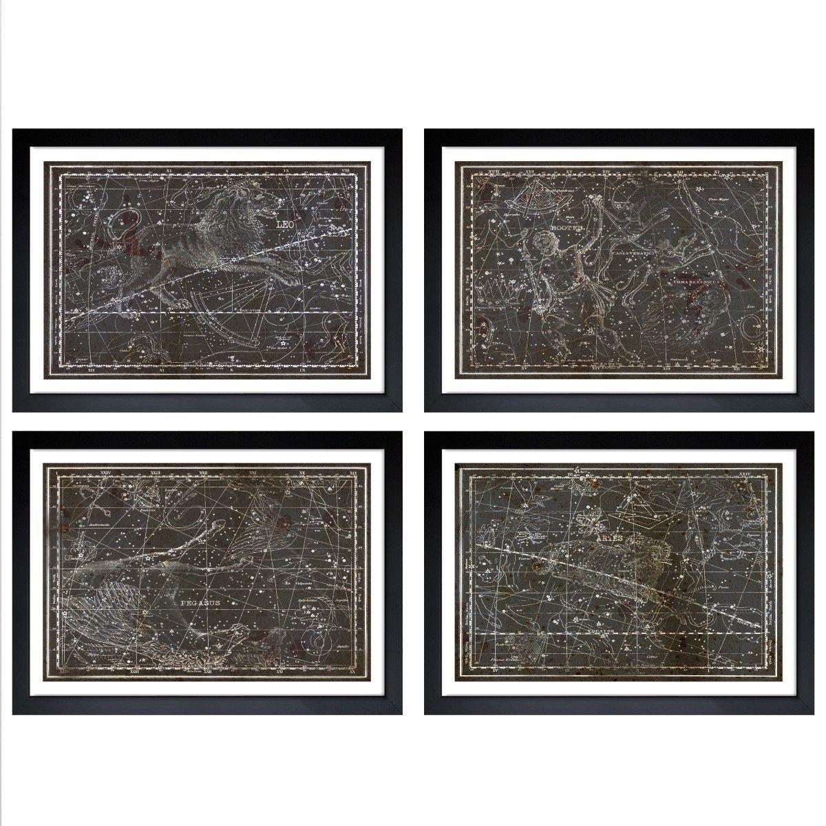 Oliver Gal 'Celestial Map XVI Century - 4 Panels' Framed Art | Overstock.com Shopping - The Best Deals on Prints