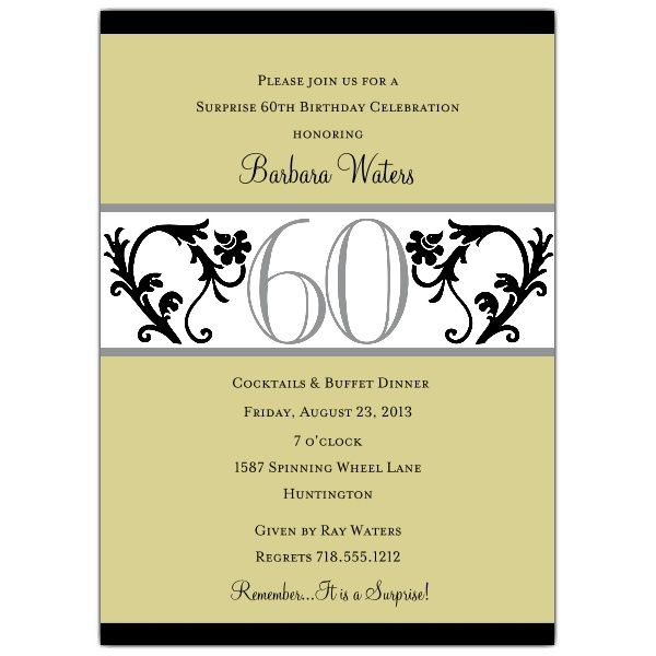 Elegant Vine Chartreuse 60th Birthday Invitations Invitations