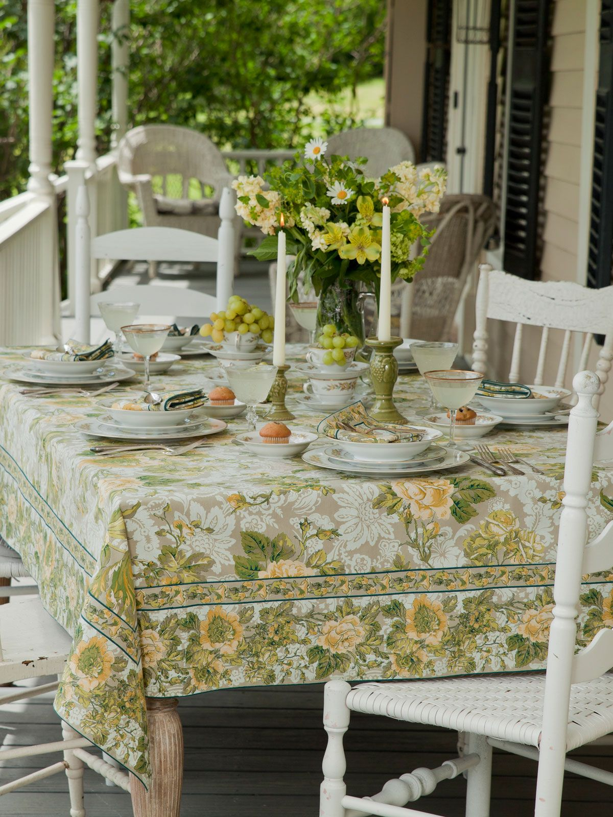 Tea Rose Tablecloth In Smoke By April Cornell.