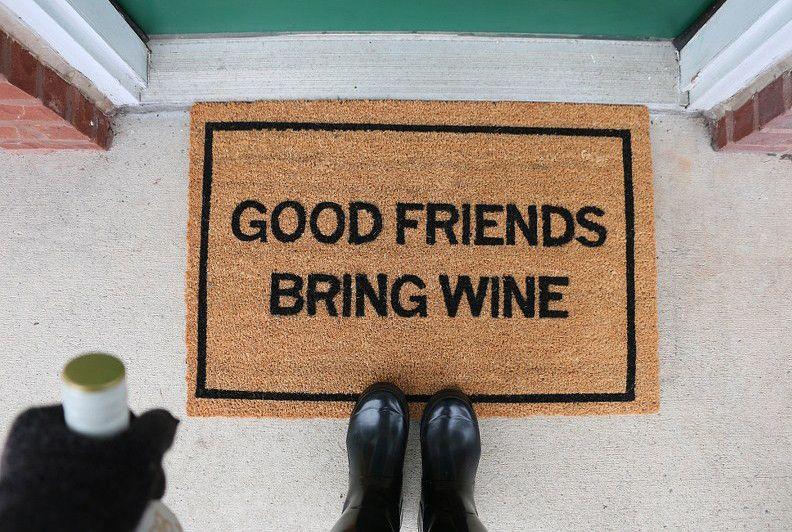Clever Doormats Good Friends Bring Wine Doormat Wine Door Mat