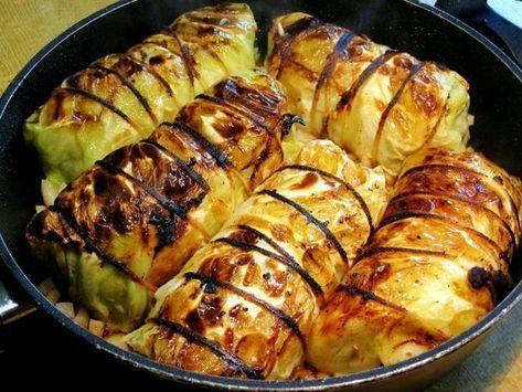 Rollos de repollo # recetas de carne rollos de col con relleno: y carne picada