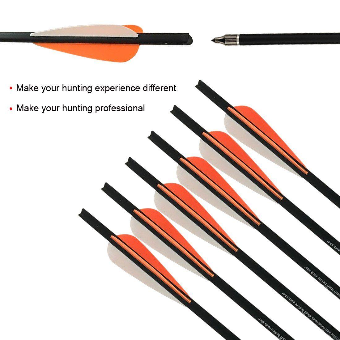 "Archery 20/"" Fiberglass Shaft Hunting Arrows Practice 8MM Outer Diameter x6"