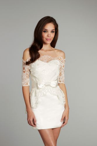 Jlm Hayley Paige Short Wedding Dress With Lace Via Onewed