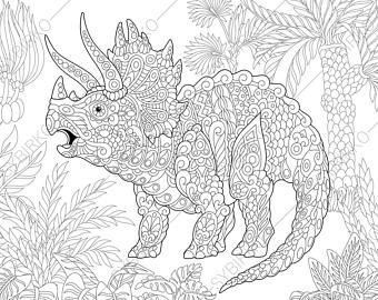 Triceratops Dinosaur Dino Coloring Pages Animal Coloring Book