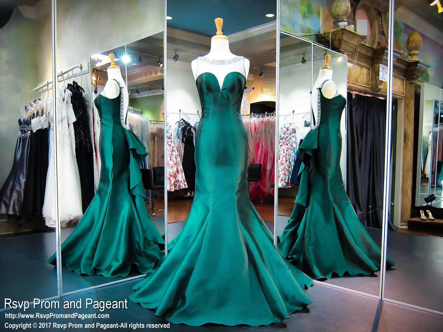 High Neckline Hunter Green Mermaid Prom Dress | Prom and Pageant ...