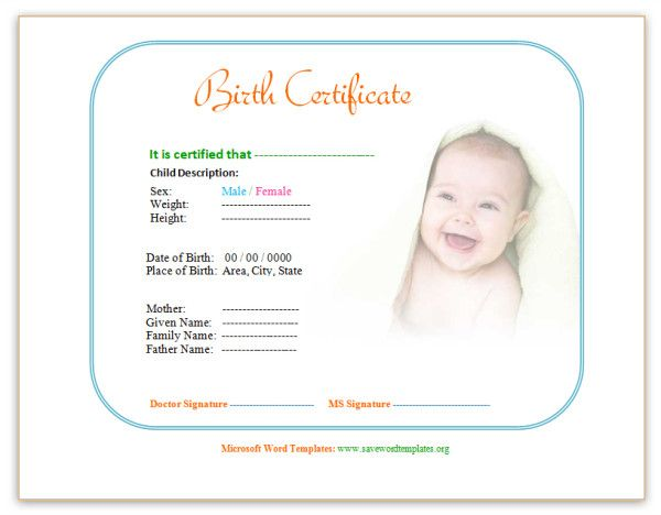 Birth Certificate Template http\/\/wwwsavewordtemplatesorg\/birth - birth certificate word template