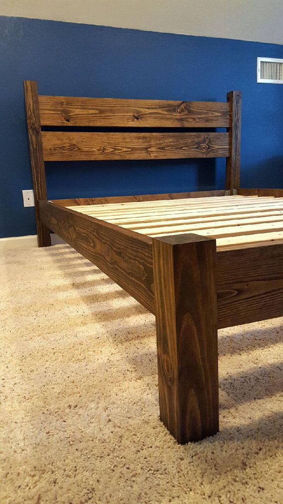 This Custom Made 4 Post Platform Bed Is Made Of Solid Pine Wood No Mdf Or Wood Veneer The Side Rails Are 2x6 And