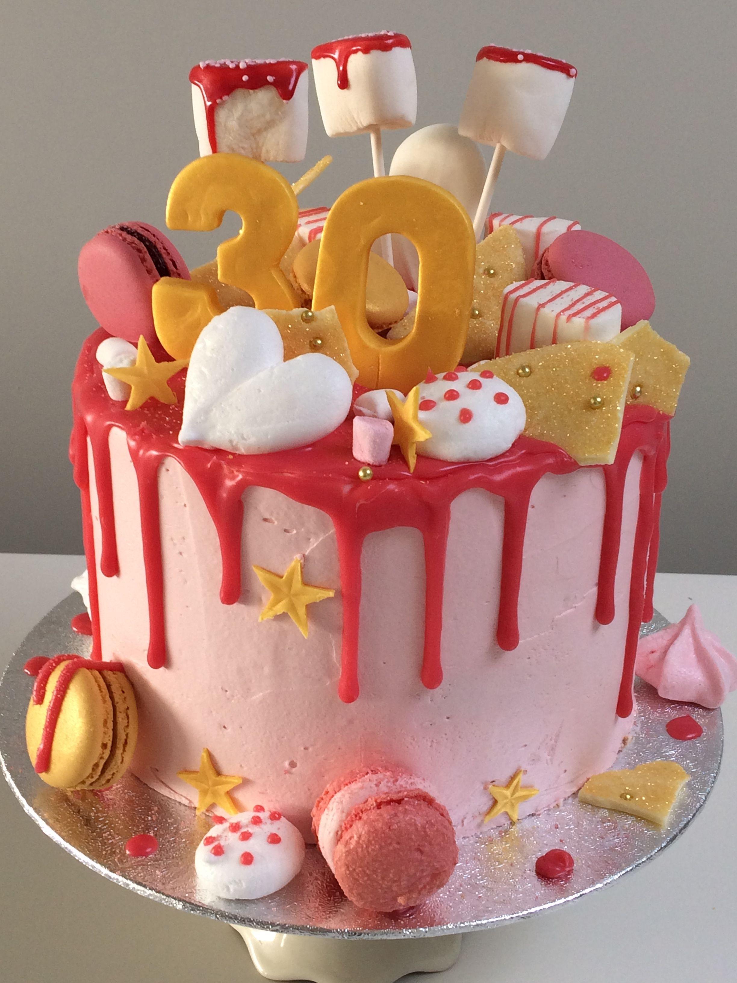 taart 30 jaar Dripping taart met schuimpjes en macarons, 30 jaar | moonsbakery  taart 30 jaar