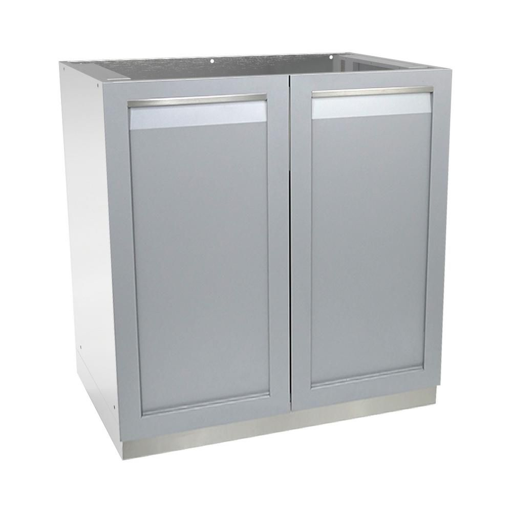 4 Life Outdoor Stainless Steel Assembled 32x35x24 In Outdoor Kitchen Base Cabinet With 2 Full Height Doors In Gray G40001 The Home Depot Outdoor Kitchen Appliances Outdoor Kitchen Outdoor Kitchen Cabinets