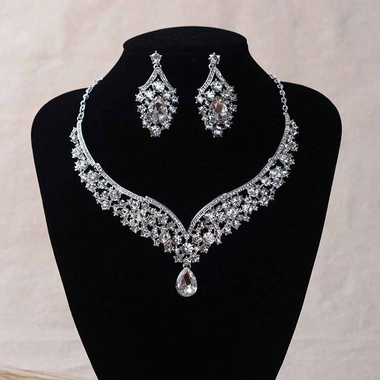 Tl152 Luxury Crystal Jewelry Sets For Wedding Large Bridal Necklace