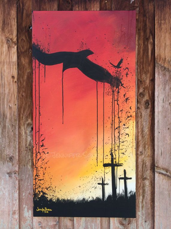 Original modern christian oil and acrylic painting on for Christian mural paintings