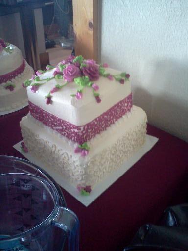 Amanda's 2nd cake...chocolate with chocolate fudge layers in-between.