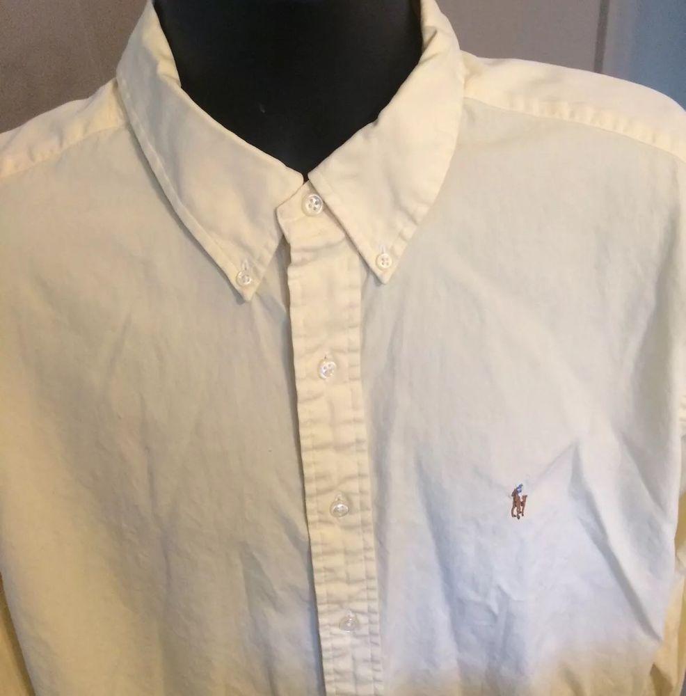 Ralph Lauren Polo Yellow Shirt 17 34 35 Yarmouth Button Down Dress Shirt