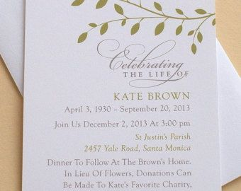 Memorial Invitation With Pink Orchids Personalized Flat Cards