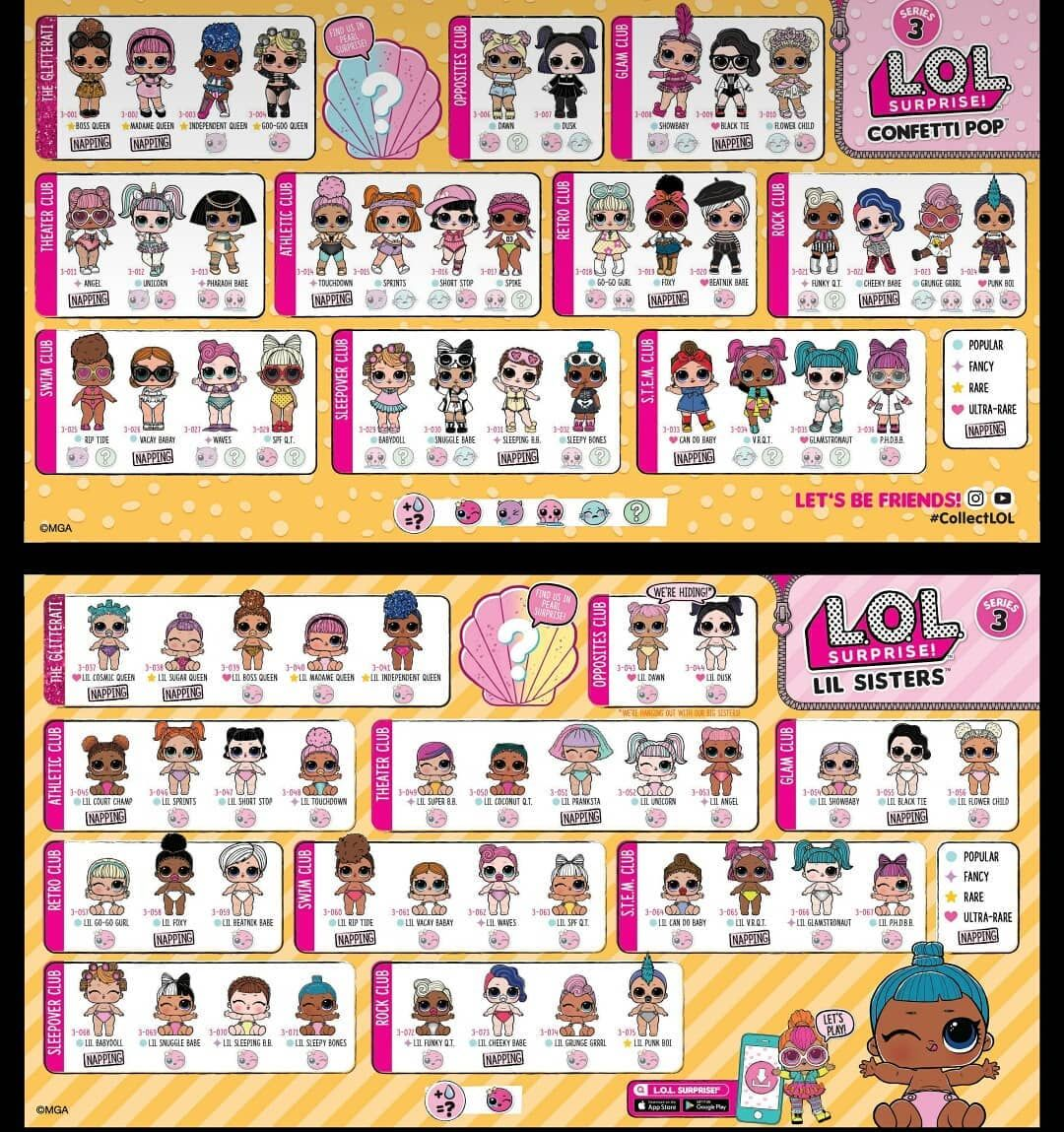 Lol Surprise Series 3 Here Is The Completed List Of Series 3 But There Are A Few Napping List For Wave 2 Big S Lol Dolls Lol Monster High Birthday Party