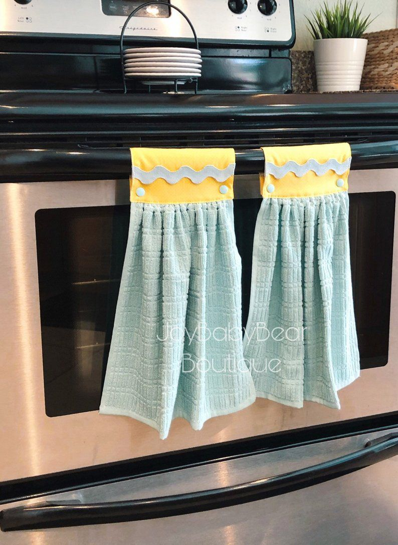 Hanging Oven Towels Aqua And Yellow Kitchen Towel Etsy Kitchen