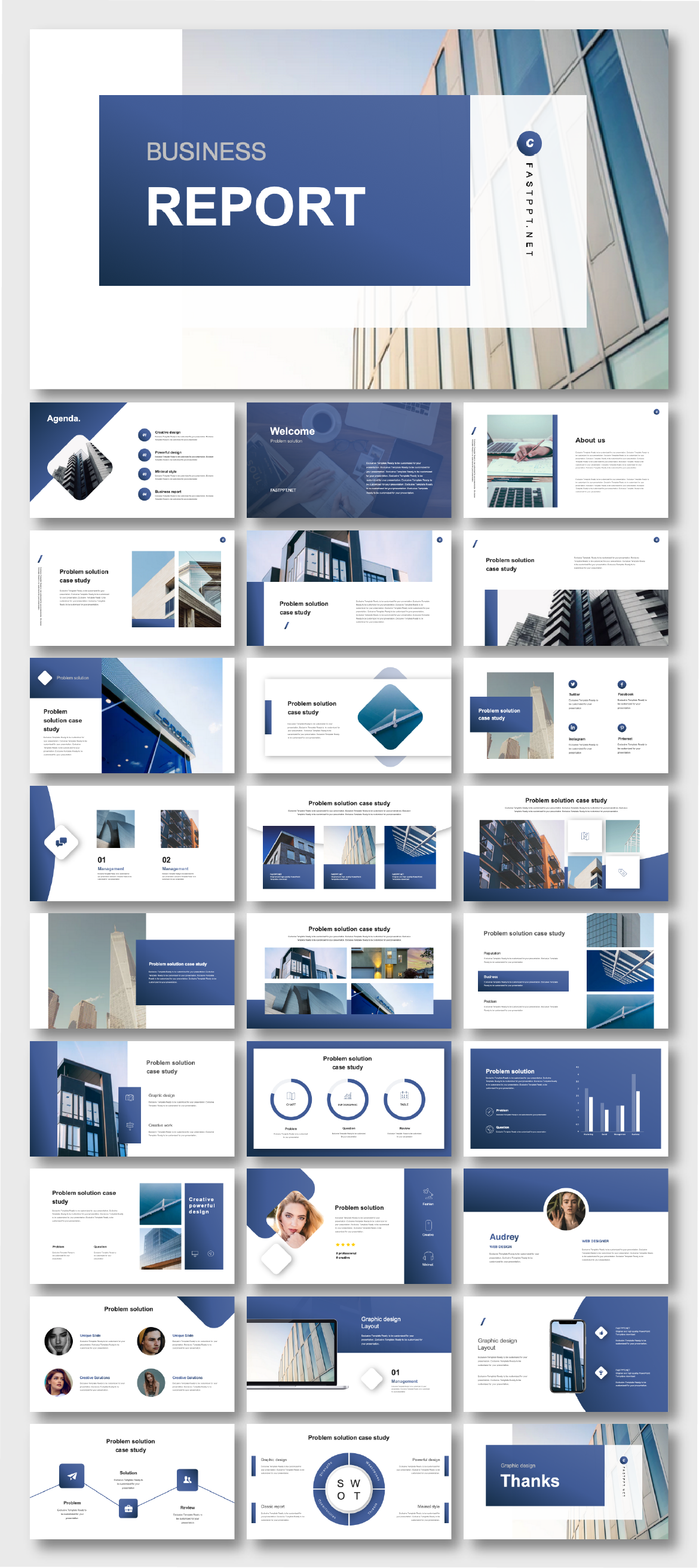 Cool & Modern Blue Business Presentation Template 2020