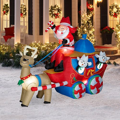 6 Tall X 8 Long Airblown Christmas Stage Coach Scene Christmas Inflatable Airblown Christmas Stage C Christmas Stage Christmas Inflatables Outdoor Christmas