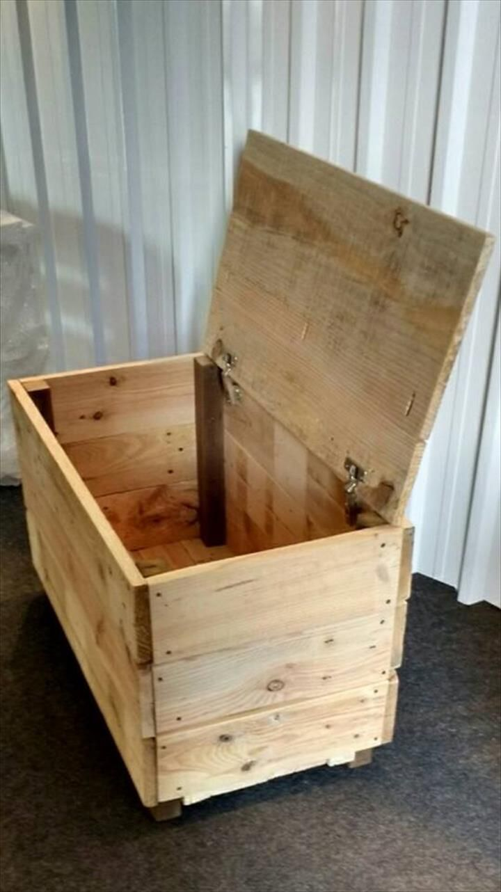 chest made of pallet wood pallet boxes crates chests woodworking projects beginner. Black Bedroom Furniture Sets. Home Design Ideas
