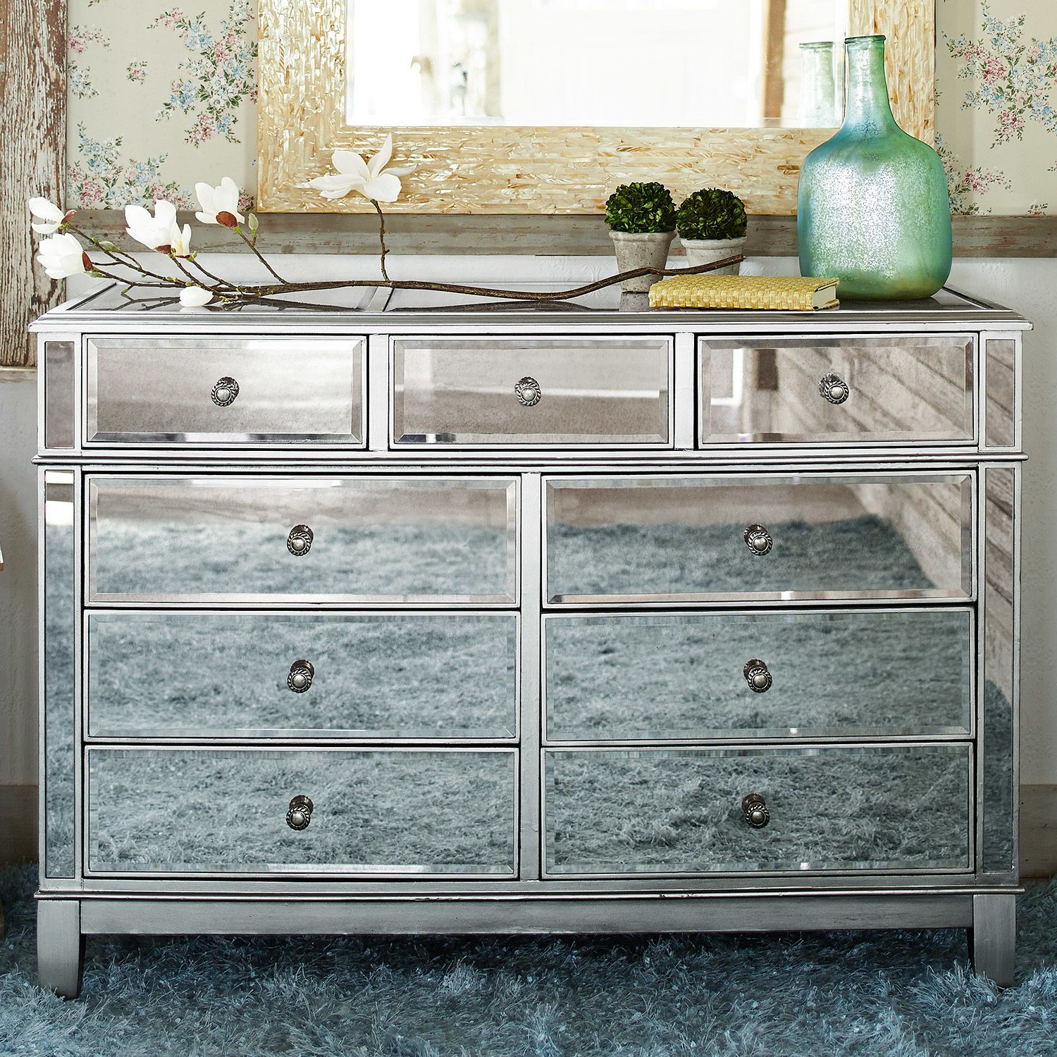 Hayworth Mirrored Silver Dresser Mirrored Bedroom Furniture