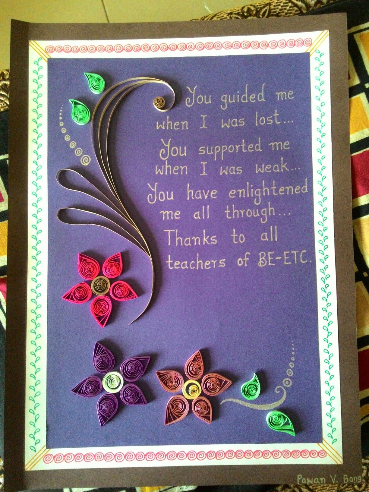 Quilled Card for teachers  Teachers day card, Quilling birthday