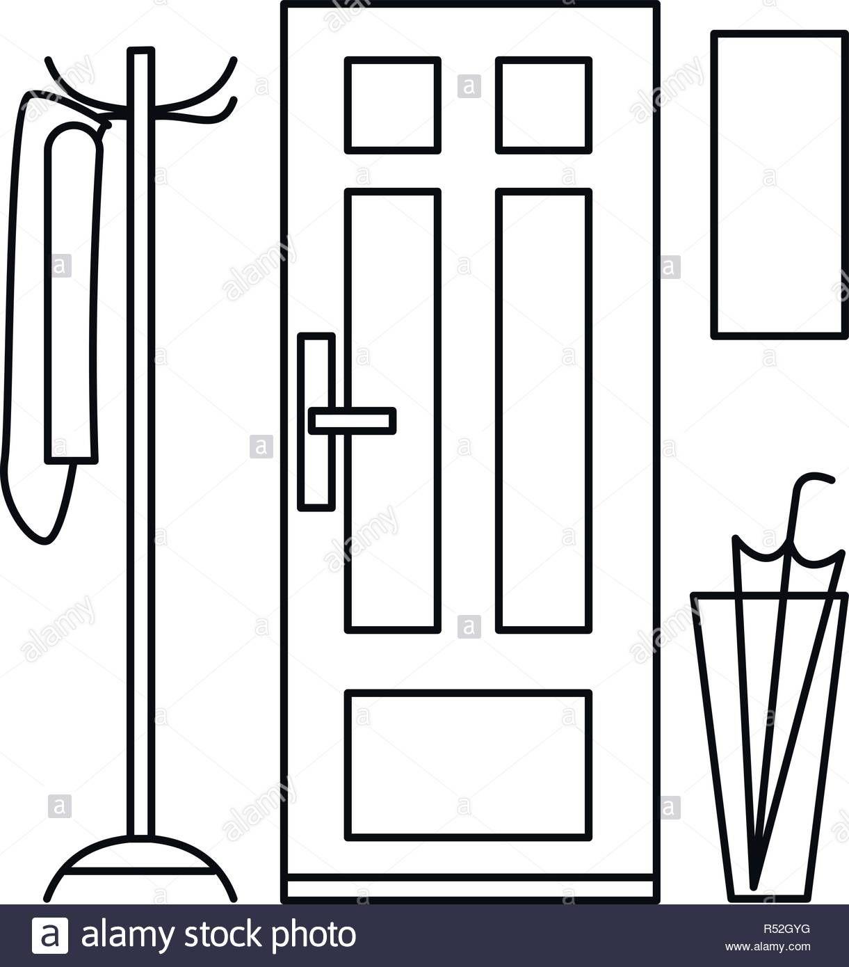 Home door interior icon. Outline illustration of home door