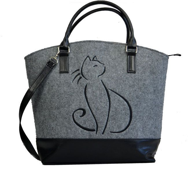 Cat bag,Felt tote Shopper bag,Felt bag, Gift for her,  Felt bag,  Felt shoulder bag,  bag embroidery cat,  Ready to ship,Large Felt Bag by BPStudioDesign on Etsy