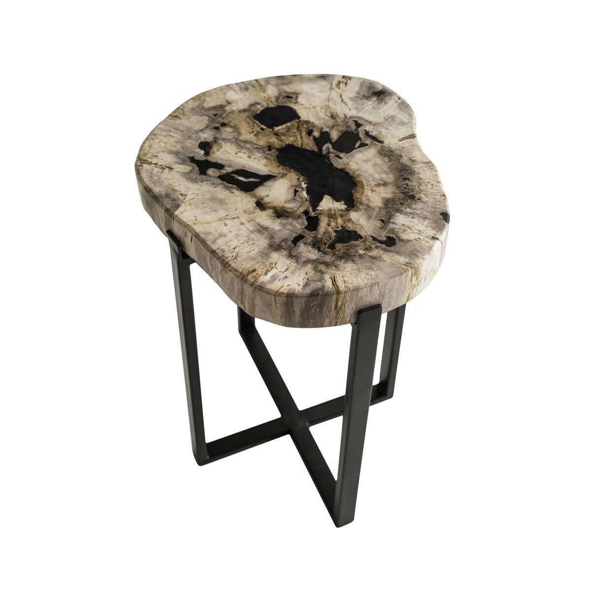 Petrified Slice Round Side Table Top Detail
