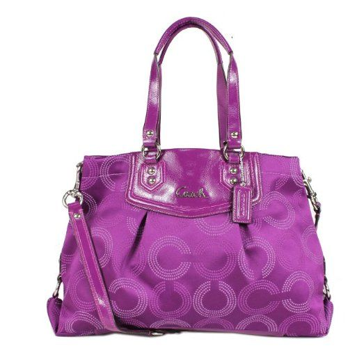 5d6f4c4630 ... closeout handbag on coach ashley dotted op art carryall purse purple  better product adds for any