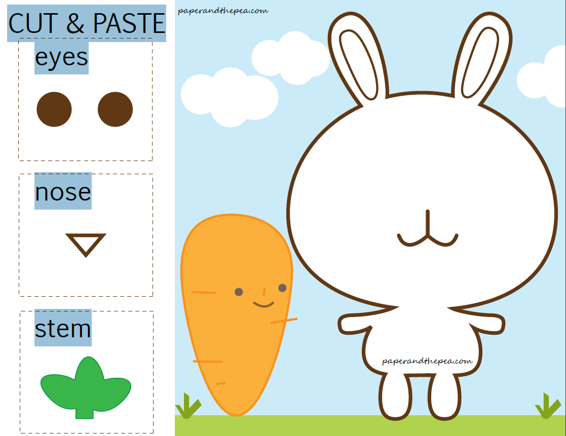 Bunny carrot cut and paste free worksheet paper and the pea