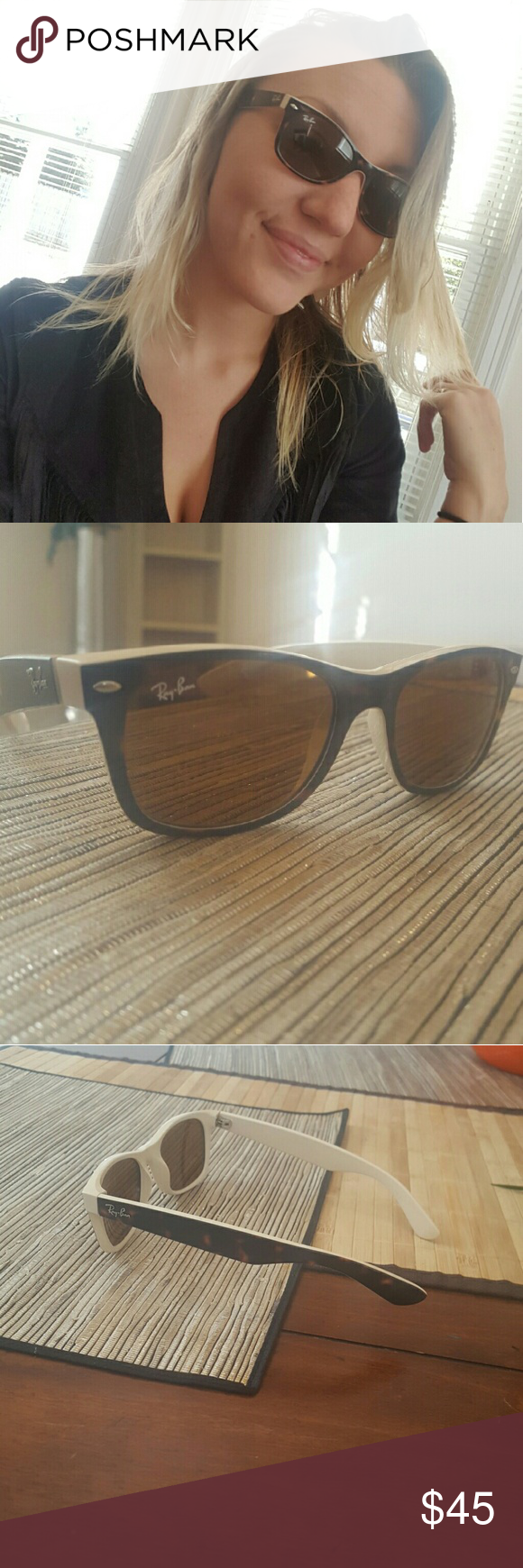 Ray ban sunglasses for couple - Ray Bans White Brown Black Really Cute Style Great Condition A Couple Tiny Marks In The Lenses Barely Noticeable Ray Ban Accessories Sunglasses