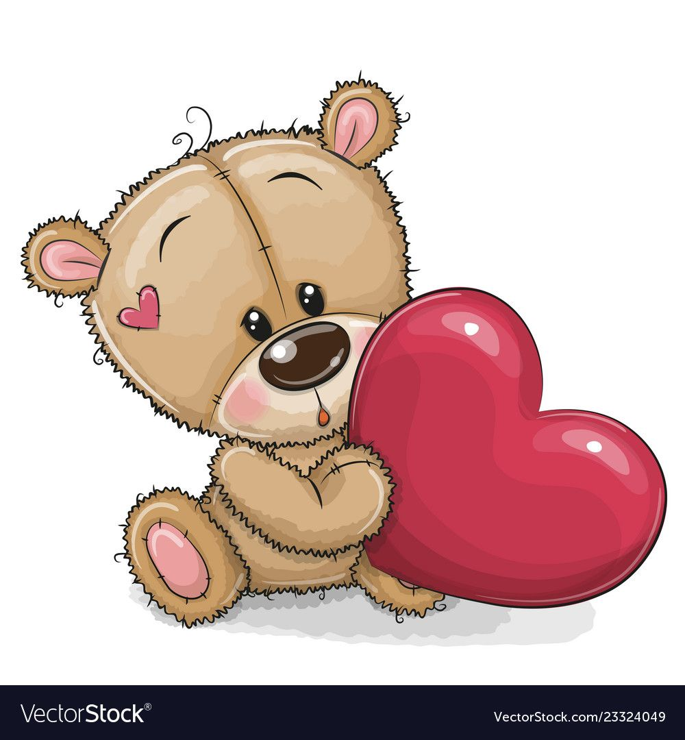 Cute Cartoon Teddy Bear With Heart Isolated On A White Background Download A Free Preview Or High Qual Teddy Bear Cartoon Teddy Bear Pictures Cute Teddy Bears