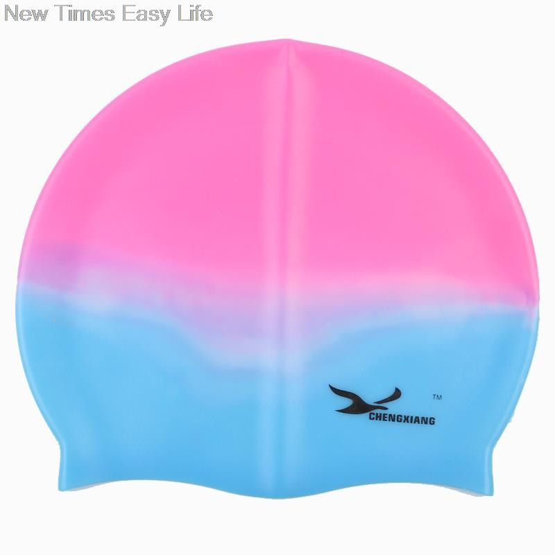 Silicone Swimming Cap Cover Ears Long Hair Swim Pool For Adult Men Women Kids