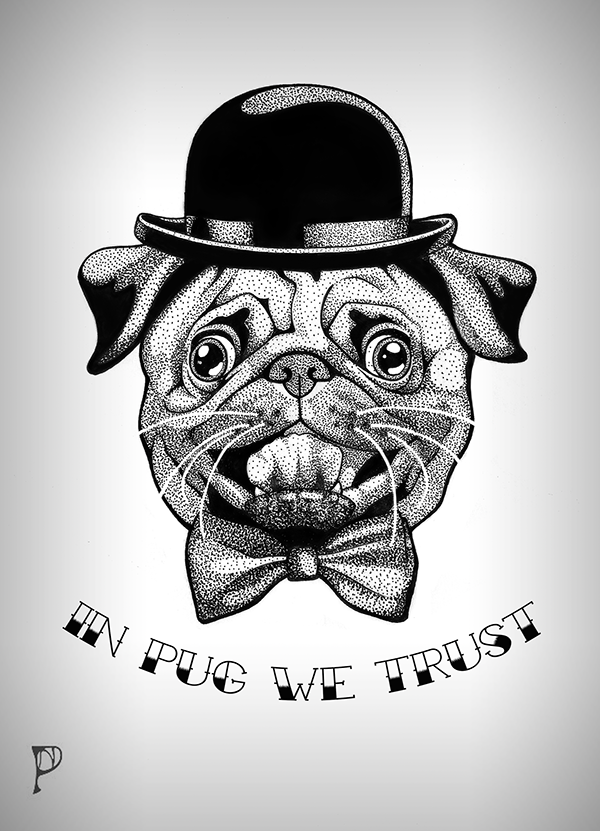 47302801b14 Pug tattoo on Behance