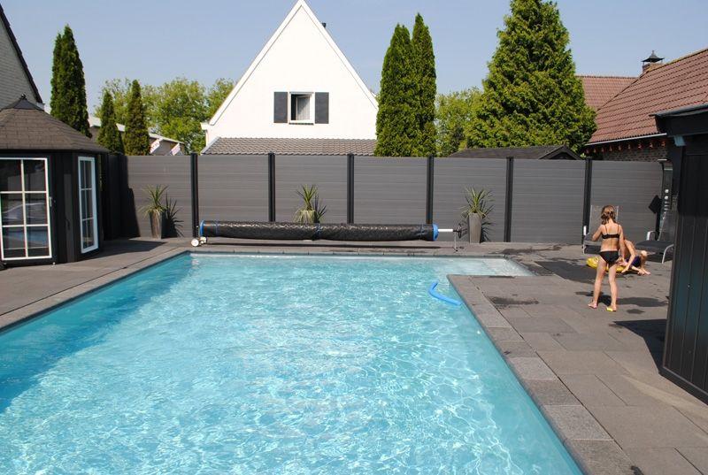 De top wall composiet schutting licht grijs tuin for Zwembad kunststof