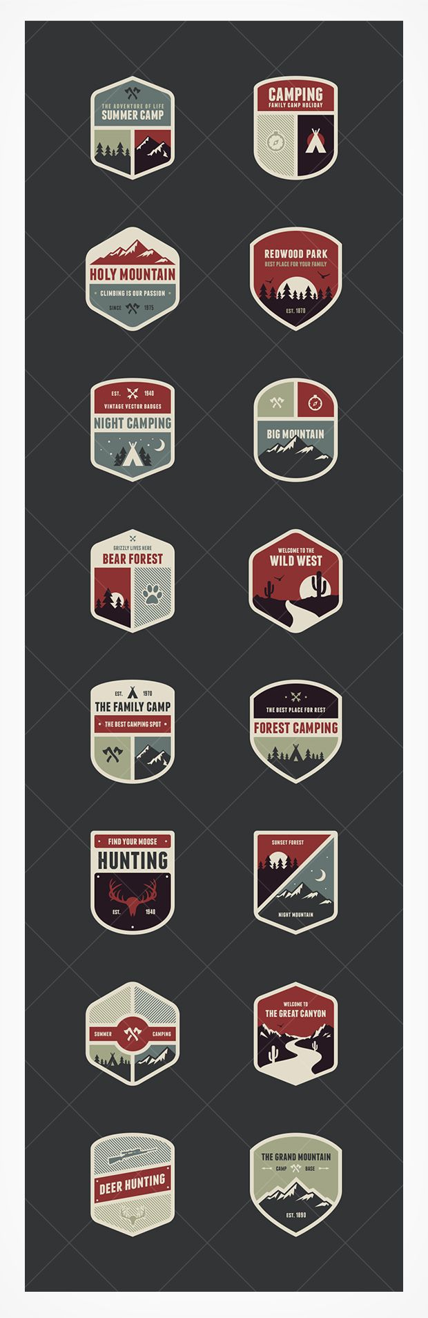 """Love these different logos for different areas of camp... Think PaliAdventures with their """"girls camp"""", """"adventure camp"""", """"rock star camp"""" but with each logo being unique to the area... Hiking, Kayak, Biking, Cooking, etc..."""