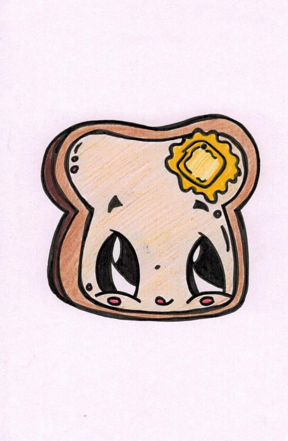Buttered Toast Cartoon Etsy Cute Food Drawings Cute Cartoon