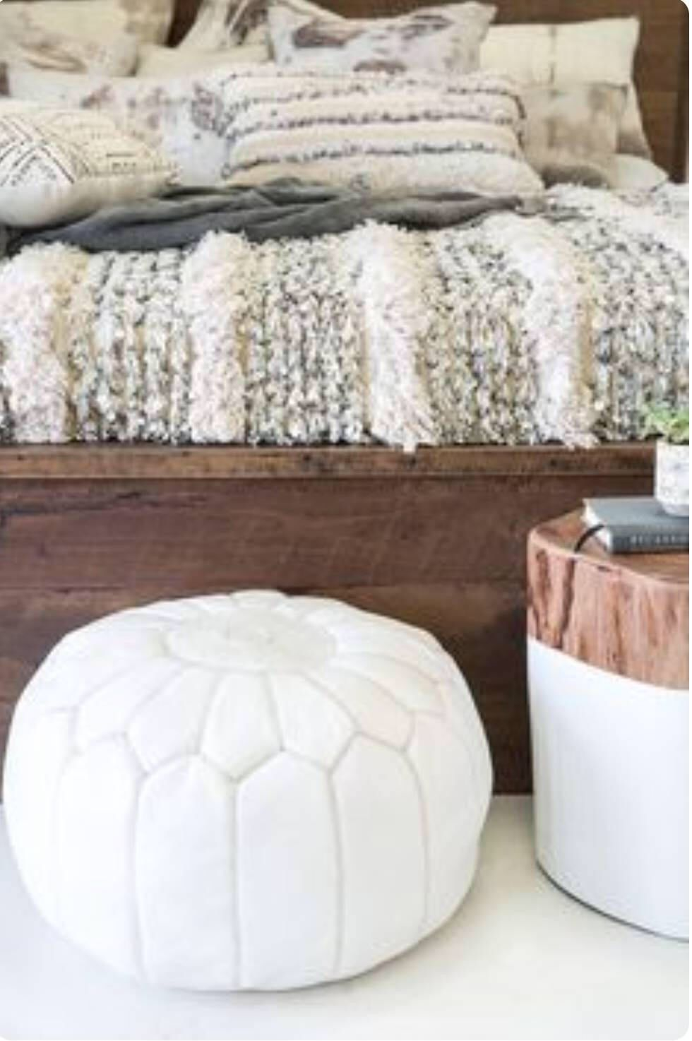 White Moroccan Leather Pouf / Leather ottoman / Embroidery design ...