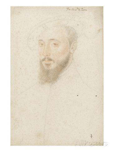 Portrait de Antoine de Halluin, (vers 1505-1553) reproduction procédé giclée par Jean Clouet sur AllPosters.fr